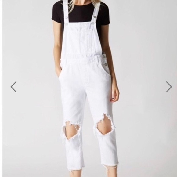 Blank NYC White Distressed Jean Overalls 26